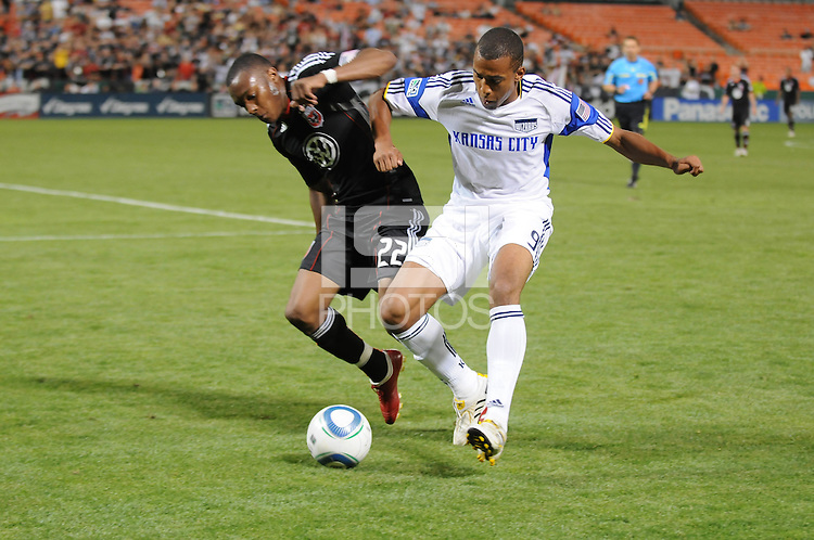 DC United defender Rodney Wallace (22) fights for possession of the ball against Kansas City Wizards forward Teal Bunbury (9). DC United defeated The Kansas City Wizards  2-0 at RFK Stadium, Wednesday May 5, 2010.
