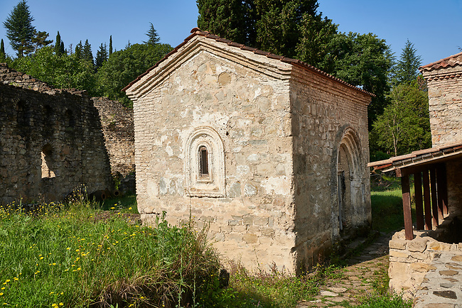 Pictures of church of Kvelatsminda, Ikalto monastery was founded by Saint Zenon, one of the 13 Syrian Fathers, in the late 6th century. Near Telavi, Kakheti, Eastern Georgia (Country).<br /> <br /> The Ikalto Monastery is famous for the Academy of Ikalto founded in the reign of King David the Builder by Arsen Ikaltoeli. The Academy of Ikalto trained its students in classical diciplins of rhetoric, astronomy, philosophy, geography, geometry as well as learning the skills of chantings, pottery and poetry. In the 12th century the Georgian poet Shota Rustaveli studied here.
