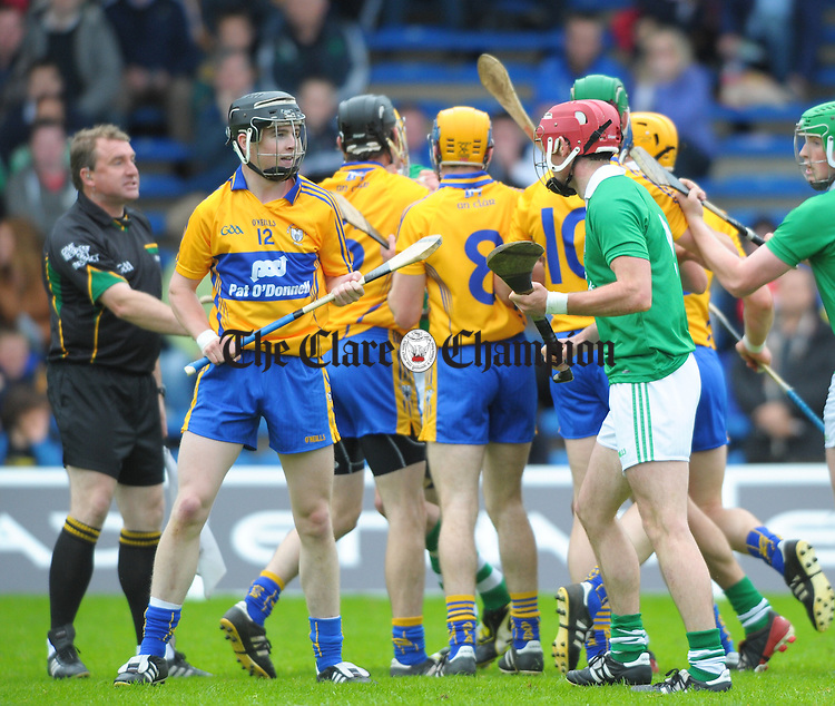 Limerick and Clare players get stuck in during the All-Ireland senior championship qualifier phase 3 game at Semple Stadium. Photograph by John Kelly.