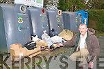 Donal McCarthy who is disgusted with the illegal dumping at the bottle banks at the back of his shop McCarthy's Londis in Rathmore on Wednesday