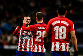 9th January 2018, Wanda Metropolitano, Madrid, Spain; Copa del Rey football, round of 16, second leg, Atletico Madrid versus Lleida; Yannick Carrasco (Atletico de Madrid) celebrates as he scores to make it 1-0 in the 55th minute