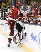 David Valek (Harvard - 22), Drew Ellement (Northeastern - 2) - The Northeastern University Huskies defeated the Harvard University Crimson 4-0 in their Beanpot opener on Monday, February 7, 2011, at TD Garden in Boston, Massachusetts.