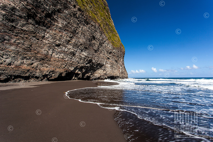 Black sand beach, Waipi'o Valley, Big Island.