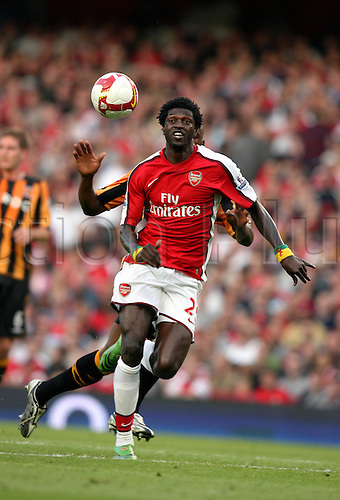 27 September 2008: Arsenal striker Emmanuel Adebayor chases  the ball during the Premier League game between Arsenal and Hull City, played at The Emirates Stadium. Hull won the game 2-1 Photo: Action Plus..080927 soccer football player