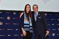 Los Angeles, CA - Thursday January 12, 2017: Kailen Sheridan, NWSL Commissioner Jeff Plush during the 2017 NWSL College Draft at JW Marriott Hotel.
