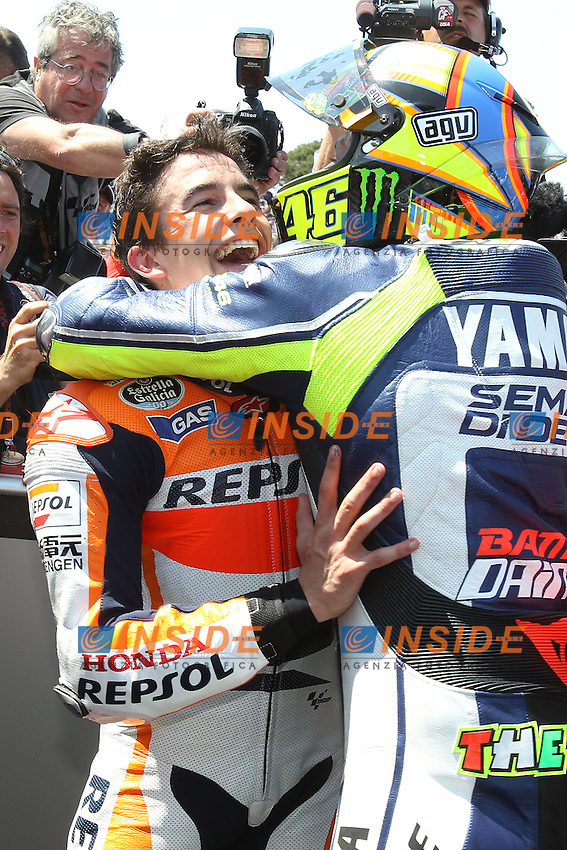 Marc Marquez - Honda Repsol team and Valentino Rossi - Yamaha factory team esultanza<br /> 21-07-2013 Laguna Seca (USA)<br /> Motogp world championship<br /> Photo Semedia/Insidefoto<br /> ITALY ONLY