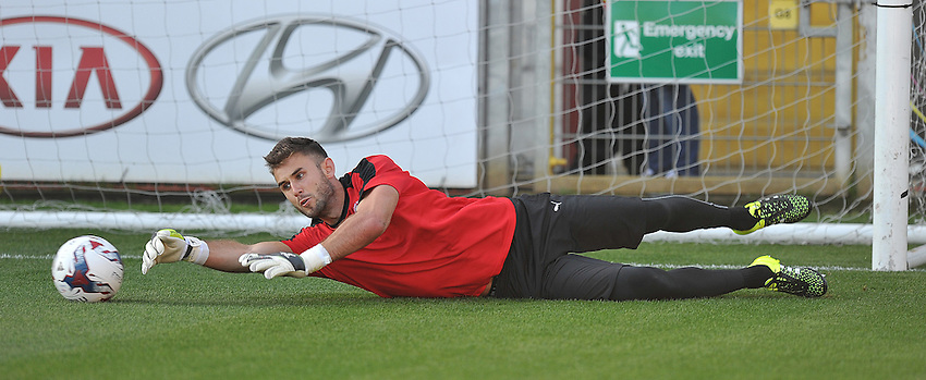 Fleetwood Town's Joe Taylor warms up<br /> <br /> Photographer Dave Howarth/CameraSport<br /> <br /> Football - Capital One Cup First Round - Fleetwood Town v Hartlepool United - Tuesday 11th August 2015 - Highbury Stadium - Fleetwood<br />  <br /> &copy; CameraSport - 43 Linden Ave. Countesthorpe. Leicester. England. LE8 5PG - Tel: +44 (0) 116 277 4147 - admin@camerasport.com - www.camerasport.com