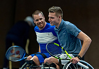 Alphen aan den Rijn, Netherlands, December 16, 2018, Tennispark Nieuwe Sloot, Ned. Loterij NK Tennis, Wheelchair doubles final, Ruben Spaargaren (NED) (R) and Maikel Scheffers (NED)<br /> Photo: Tennisimages/Henk Koster