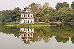 Tortoise Tower 02 - The historic Tortoise Tower, Thap Rua, reflected in the waters of Hoan Kiem Lake, Hanoi, Vietnam
