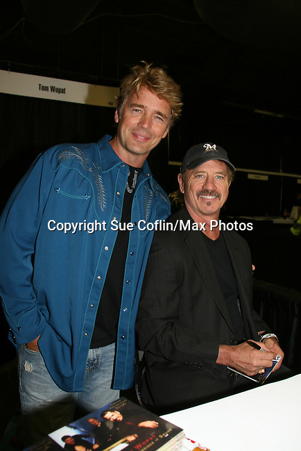 John Schneider & Tom Wopat appear at Big Apple Comic Con for autographs and photos on October 16 (and 17 & 18), 2009 at Pier 94, New York City, New York. (Photo by Sue Coflin/Max Photos)