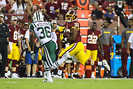 Landover, MD - August 16, 2018: Washington Redskins running back Samaje Perine (32) runs the ball during the preseason game between New York Jets and Washington Redskins at FedEx Field in Landover, MD.   (Photo by Elliott Brown/Media Images International)