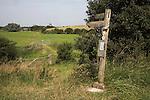 Footpath sign, Suffolk farming landscape scenery, East Anglia, England