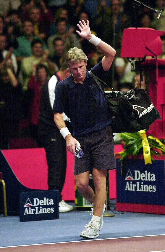 Photo Ken Brown.8.12.00 Honda Challenge at the Royal Albert Hall.Bjorn Borg leaves the court after lossing to McEnroe.