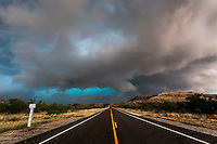 Colorful thunderstorm above a highway in  West Texas, May 24, 2014