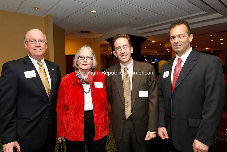 Waterbury, CT- 30, November 2010-113010CM18  Easter Seals Social Moment, L-R:  Bob Teittinen, from Union Savings Bank, Judy Mirrer, Middlebury, Jim Zoldy, Halsey Associates and Curtis Audibert, Lenkowski Lonergan & Co., CPA's. Christopher Massa Republican-American