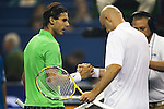 SHANGHAI, CHINA - OCTOBER 16:  Ivan Ljubicic of Croatia shakes hands with Rafael Nadal of Spain after his retired during day six of 2009 Shanghai ATP Masters 1000 at Qi Zhong Tennis Centre on October 16, 2009 in Shanghai, China.  Photo by Victor Fraile / The Power of Sport Images
