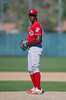 Cincinnati Reds pitcher Cory Thompson (15) prepares to deliver a pitch to the plate during an Instructional League game against the Oakland Athletics on September 29, 2017 at Lew Wolff Training Complex in Mesa, Arizona. (Zachary Lucy/Four Seam Images)