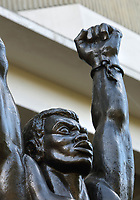 Statue of Lemba, an African pirate and slave rebel leader in the 16th century, at the entrance to the Museo del Hombre Dominicano, founded in 1973 and designed by Jose Antonio Caro Alvarez, on the Plaza de la Cultura in the Colonial Zone, in Santo Domingo, capital of the Dominican Republic, in the Caribbean. The museum houses collections on the culture of the Precolumbian Taino people. Santo Domingo's Colonial Zone is listed as a UNESCO World Heritage Site. Picture by Manuel Cohen