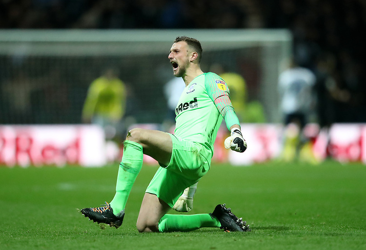 Preston North End's Declan Rudd celebrates scoring his sides third goal<br /> <br /> Photographer Rachel Holborn/CameraSport<br /> <br /> The EFL Sky Bet Championship - Preston North End v Blackburn Rovers - Saturday 24th November 2018 - Deepdale Stadium - Preston<br /> <br /> World Copyright © 2018 CameraSport. All rights reserved. 43 Linden Ave. Countesthorpe. Leicester. England. LE8 5PG - Tel: +44 (0) 116 277 4147 - admin@camerasport.com - www.camerasport.com