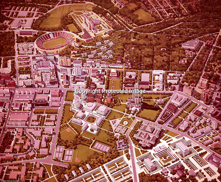 Pittsburgh PA:  Futuristic view of the University of Pittsburgh campus -1958.  Illustration was created by Deeter Ritchey Architects who had just completed the Litchfield Towers dorms at Pitt. <br /> As you can see, Forbes Field is not in the drawing (bottom right).  Pitt purchased Forbes Field from the Pirates in 1957 and agreed to rent it to them until a new stadium was built.