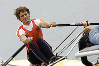 Munich, GERMANY, 2006, NED M1X Sjoerd Hamburger, pulls away from the starting finger in Thurs heats at the  FISA, Rowing, World Cup, held on the Olympic Regatta Course, Munich, Thurs. 25.05.2006. © Peter Spurrier/Intersport-images.com,  / Mobile +44 [0] 7973 819 551 / email images@intersport-images.com.[Mandatory Credit, Peter Spurier/ Intersport Images] Rowing Course, Olympic Regatta Rowing Course, Munich, GERMANY