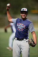 Aaron Roberts during the WWBA World Championship at the Roger Dean Complex on October 19, 2018 in Jupiter, Florida.  Aaron Roberts is a right handed pitcher from Las Vegas, Nevada who attends Desert Oasis High School and is committed to California.  (Mike Janes/Four Seam Images)