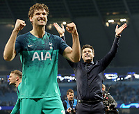 Tottenham Hotspur manager Mauricio Pochettino (right) celebrates with Fernando Llorente at the final whistle<br /> <br /> Photographer Rich Linley/CameraSport<br /> <br /> UEFA Champions League - Quarter-finals 2nd Leg - Manchester City v Tottenham Hotspur - Wednesday April 17th 2019 - The Etihad - Manchester<br />  <br /> World Copyright © 2018 CameraSport. All rights reserved. 43 Linden Ave. Countesthorpe. Leicester. England. LE8 5PG - Tel: +44 (0) 116 277 4147 - admin@camerasport.com - www.camerasport.com