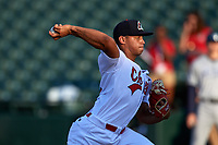 Peoria Chiefs starting pitcher Jordan Hicks (12) delivers a pitch during a game against the West Michigan Whitecaps on May 8, 2017 at Dozer Park in Peoria, Illinois.  West Michigan defeated Peoria 7-2.  (Mike Janes/Four Seam Images)