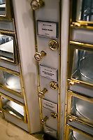 A recreation of the famous Horn & Hardart Automat using original preserved machinery in the Lunch Hour NYC show at the New York Public Library in the Schwarzman Building in Midtown Manhattan on Tuesday, June 26, 2012. The expansive exhibit shows aspects of lunch as performed by New Yorkers over the years. The show visits the history of the mid-day meal as is was taken by New Yorkers covering  everything from homemade meals to quick lunch joints to hot dog carts and everything in between.(© Richard B. Levine)