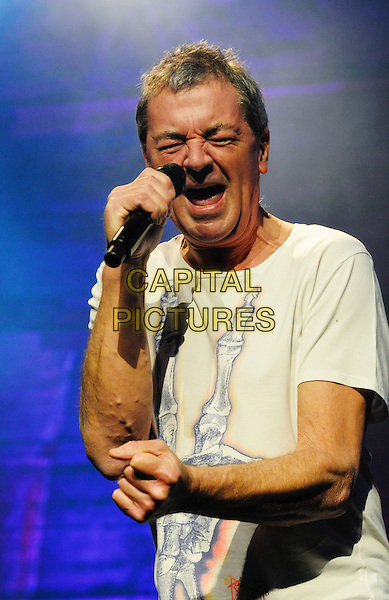 Ian Gillan.British rock band Deep Purple perform on stage at Hamilton Place Theatre, Hamilton, Ontario, Canada, .13th February 2012..music on stage live concert gig half length singing white t-shirt microphone eyes shut hand fist .CAP/ADM/BPC.©Brent Perniac/AdMedia/Capital Pictures.