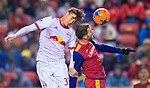 New York Red Bulls defender Aaron Long (33) and Real Salt Lake forward Alfredo Ortuno (16) vie for the ball in the first half Saturday, March 17, 2018, during the Major League Soccer game at Rio Tiinto Stadium in Sandy, Utah. (© 2018 Douglas C. Pizac)