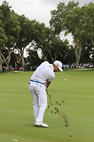 Sergio Garcia (ESP) plays his 2nd shot on the 1st hole during Sunday's storm delayed Final Round 3 of the Andalucia Valderrama Masters 2018 hosted by the Sergio Foundation, held at Real Golf de Valderrama, Sotogrande, San Roque, Spain. 21st October 2018.<br /> Picture: Eoin Clarke | Golffile<br /> <br /> <br /> All photos usage must carry mandatory copyright credit (&copy; Golffile | Eoin Clarke)