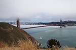 """Fun in the Bay"" Golden Gate Bridge and San Francisco.  Although the strait may be difficult to sail or go boating it doesn't stop people from enjoying the Bridge with San Francisco in the background. Day or night, sunrise or sunset this is some of the most beautiful scenery in all of California if not the world."