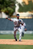 Detroit Tigers Sergio Alcantara (3) throws to first base during an Instructional League game against the Atlanta Braves on October 10, 2017 at the ESPN Wide World of Sports Complex in Orlando, Florida.  (Mike Janes/Four Seam Images)