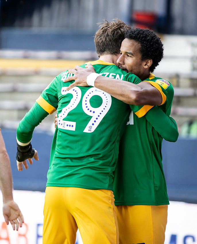 Preston North End's Scott Sinclair (right) celebrates scoring his side's first goal with team mate Tom Barkhuizen <br /> <br /> Photographer Andrew Kearns/CameraSport<br /> <br /> The EFL Sky Bet Championship - Luton Town v Preston North End - Saturday 20th June 2020 - Kenilworth Road - Luton<br /> <br /> World Copyright © 2020 CameraSport. All rights reserved. 43 Linden Ave. Countesthorpe. Leicester. England. LE8 5PG - Tel: +44 (0) 116 277 4147 - admin@camerasport.com - www.camerasport.com