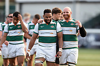 Andrew Durutalo and Sam Dickinson of Ealing Trailfinders after the match. Greene King IPA Championship match, between Ealing Trailfinders and Nottingham on March 30, 2019 at the Trailfinders Sports Ground in London, England. Photo by: Patrick Khachfe / Onside Images