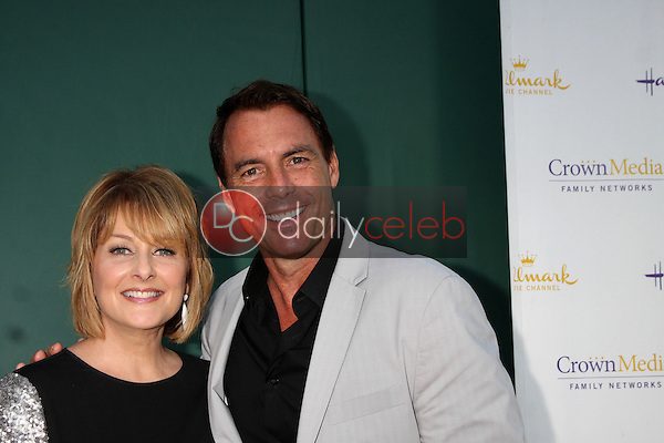 LOS ANGELES - JUL 8:  Cristina Ferrare, Mark Steines at the Crown Media Networks July 2014 TCA Party at the Private Estate on July 8, 2014 in Beverly Hills, CA