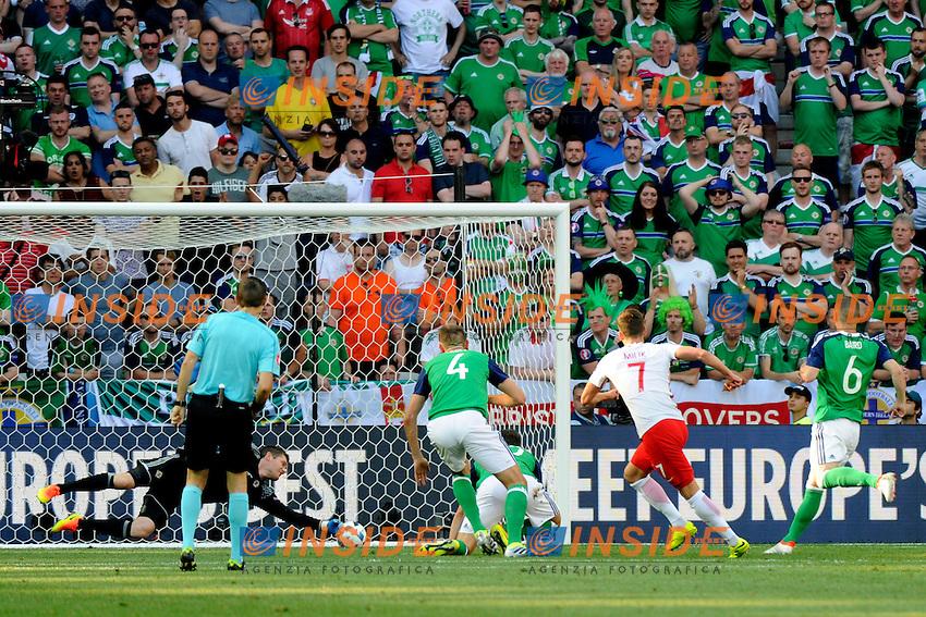 Gol Arkadiusz Milik Poland. Goal <br /> Nice 12-06-2016 Stade de Nice Football Euro2016 Poland - Northern Ireland / Polonia - Irlanda del Nord Group Stage Group C. Foto Pennant / Panoramic / Insidefoto