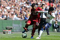 Danny Rose of Tottenham Hotspur and Roberto Firmino of Liverpool during Tottenham Hotspur vs Liverpool, Premier League Football at Wembley Stadium on 15th September 2018