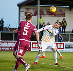 02.05.2018 Arbroath v Dumbarton: Callum Gallagher heads in to score for Dumbarton