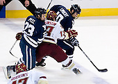 Kevin Peel (Yale - 23), Cam Atkinson (BC - 13), Kevin Limbert (Yale - 10) - The Boston College Eagles defeated the Yale University Bulldogs 9-7 in the Northeast Regional final on Sunday, March 28, 2010, at the DCU Center in Worcester, Massachusetts.