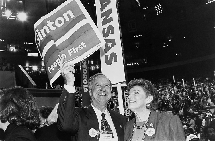 Rep. Ray Thornton, D-Ark., and Wife Betty Thornton at Democratic Convention, on July 13, 1992. (Photo by Laura Patterson/ CQ Roll Call)
