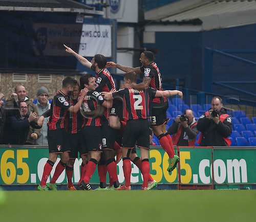 03.04.2015.  Ipswich, England. Skybet Championship. Ipswich Town versus AFC Bournemouth. The Bournemouth players celebrate the goal which made it 1-1.