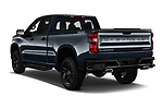 Car pictures of rear three quarter view of a 2019 Chevrolet Silverado 1500 Custom Trail Boss 4 Door Pick Up angular rear