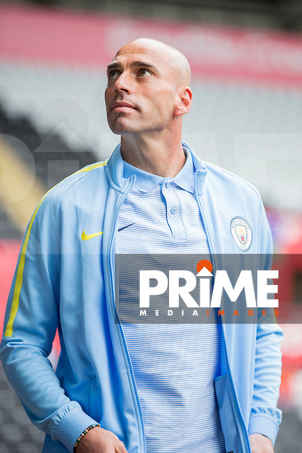 Willy Caballero of Manchester City arrives for the EPL - Premier League match between Swansea City and Manchester City at the Liberty Stadium, Swansea, Wales on 24 September 2016. Photo by Mark  Hawkins.