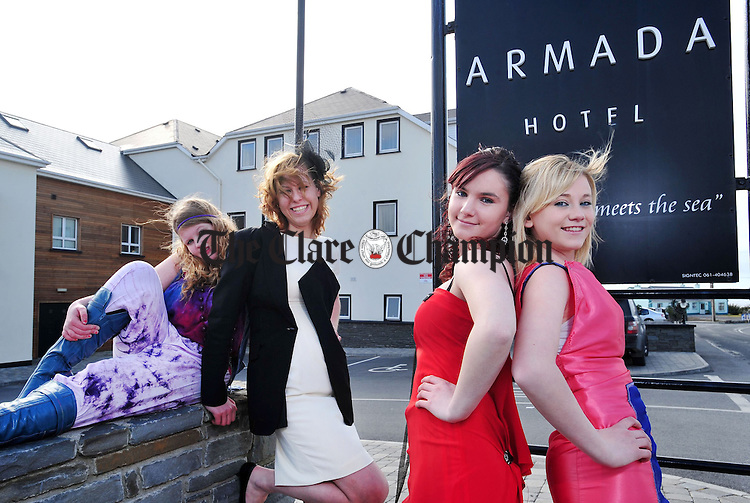 Saoirse O' Driscoll, Dita Gapcka, Elaine Clancy and Orla Flanagan, pupils at St Joseph's in Spanish Point, at the launch of Fashion Fusion, Past and Present, which takes place on March 25 at the Armada Hotel. Photograph by Declan Monaghan