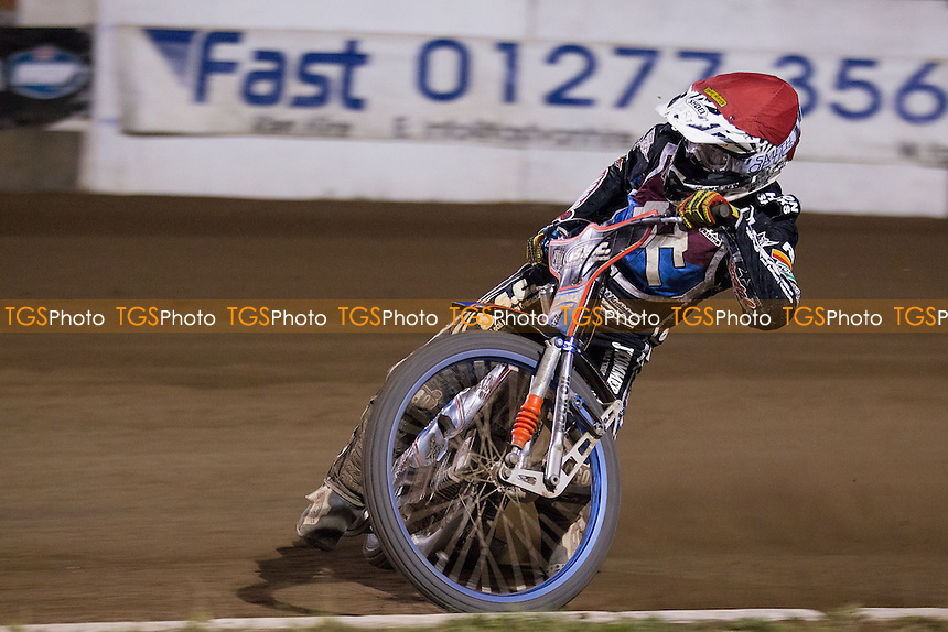 Davey Watt of Lakeside Hammers through the first bend in the 15th just before a racing incident finished his race - Lakeside Hammers vs Belle Vue Aces - Elite League Speedway at Arena Essex - 15/08/14 - MANDATORY CREDIT: Ray Lawrence/TGSPHOTO - Self billing applies where appropriate - contact@tgsphoto.co.uk - NO UNPAID USE