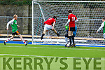 Abbeydorney's Shane Donovan takes a shot on goals against Manor West FC in the Denny soccer league in Mounthawk Park on Sunday