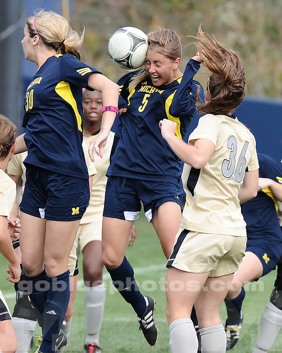 "The University of Michigan women's soccer team beat Purdue, 2-0, in the ""Pink Game"" at UM Soccer Stadium in Ann Arbor, Mich., on October 14, 2012."