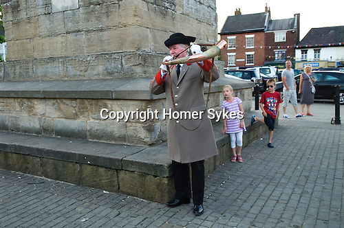 Ripon Hornblower, the Wakeman George Pickes sounds the ancient Charter horn once at each corner of the market square obelisks at 9.00 pm every night of the year. The custom of 'Setting the Watch' has been carried out for 1128 years. It is the longest ongoing unbroken daily ceremony in the world.